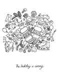 Illustrazione degli oggetti di Natale La festa ed il divertimento Cartolina in bianco e nero Immagine Stock