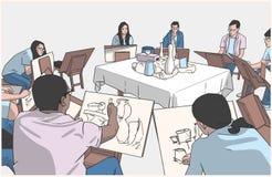 Illustrazione degli studenti che disegnano natura morta nello studio di arte illustrazione di stock
