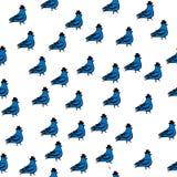 Illustrazione degli uccelli della primavera, senza cuciture, colomba del modello con il cilindro illustrazione di stock