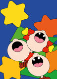 Illustrazione dei bambini che cantano le canzoni davanti ad un albero di Natale Immagini Stock