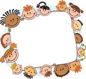 Illustrazione dei bambini che sbirciano dietro il vettore dell'insegna fotografie stock libere da diritti