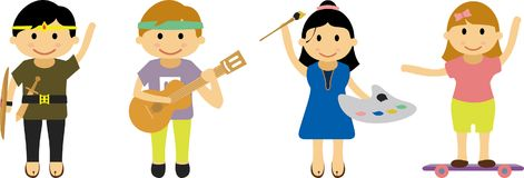 Illustrazione dei bambini con i vari hobby ed attività ` s un'immagine del png Fotografie Stock Libere da Diritti