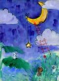 Illustrazione dei bambini dei topi che mangiano luna Fotografie Stock