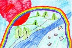 Illustrazione dei bambini di un Rainbow Immagine Stock