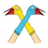 Illustrazione dei burattini del calzino dell'uccello Fotografie Stock