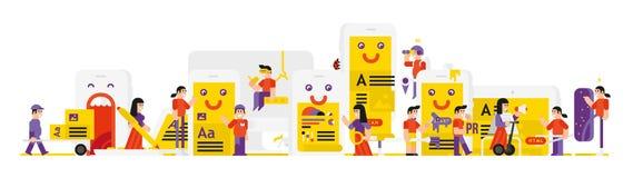 Illustrazione dei caratteri in questione nello sviluppo delle applicazioni mobili Illustrazione di vettore in uno stile piano L'i royalty illustrazione gratis