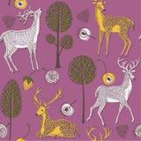 Illustrazione dei cervi con il antler, alberi, fiori royalty illustrazione gratis