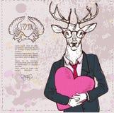 Illustrazione dei cervi di modo dei Annata-pantaloni a vita bassa Illustrazione Vettoriale