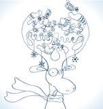 Illustrazione dei cervi di natale con la sciarpa Fotografia Stock Libera da Diritti