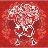 Illustrazione dei cuori del vino di amore di vetro Fotografie Stock Libere da Diritti