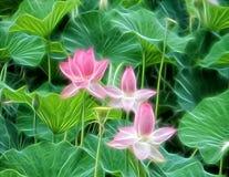 Illustrazione dei fiori di loto su un fondo delle foglie verdi fotografia stock