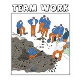 Illustrazione dei lavoratori che mostrano lavoro di gruppo Illustrazione di Stock