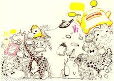 Illustrazione dei personaggi dei cartoni animati Immagine Stock Libera da Diritti