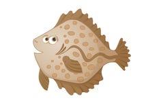 Illustrazione dei pesci piatti del fumetto Fotografia Stock