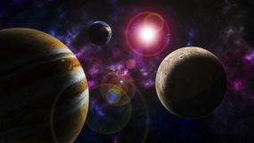 Illustrazione dei pianeti dello spazio di fantasia Immagini Stock