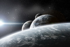 Illustrazione dei pianeti dello spazio di fantasia Fotografia Stock
