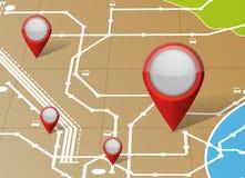 Illustrazione dei puntatori dell'indicatore di posizione e della mappa Fotografia Stock