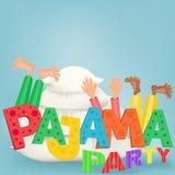 Illustrazione dei ragazzi con i cuscini che hanno pigiama party del pigiama illustrazione di stock