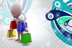 illustrazione dei sacchetti della spesa dell'uomo 3d Fotografia Stock Libera da Diritti