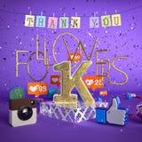 1000, illustrazione dei seguaci 1K con vi ringrazia su fondo porpora rappresentazione 3d Fotografia Stock Libera da Diritti