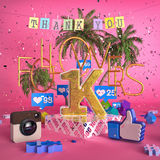 1000, illustrazione dei seguaci 1K con vi ringrazia su fondo rosa rappresentazione 3d Fotografia Stock Libera da Diritti