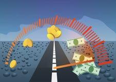 Illustrazione dei soldi dei guadagni tachimetro Immagine Stock Libera da Diritti