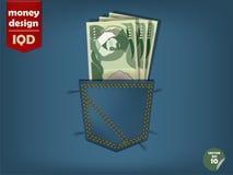 Illustrazione dei soldi del dinaro iracheno nella tasca delle blue jeans Fotografia Stock