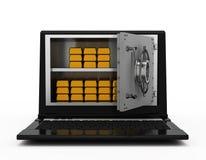 Illustrazione dei soldi elettronici. FAS del taccuino Immagini Stock Libere da Diritti