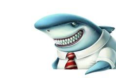 Illustrazione dei sorrisi dello squalo di affari astutamente illustrazione di stock