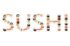 Illustrazione dei sushi di parola Fotografie Stock Libere da Diritti