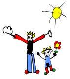 Illustrazione del bambino del padre e della figlia Immagine Stock Libera da Diritti