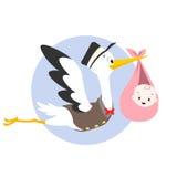 Illustrazione del bambino della cicogna Immagine Stock Libera da Diritti