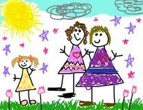 Illustrazione del bambino della sua famiglia Immagine Stock