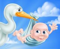Illustrazione del bambino e della cicogna Immagini Stock