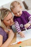 Illustrazione del bambino e della madre Fotografia Stock