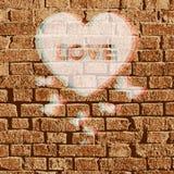 Illustrazione del brickwall del biglietto di S. Valentino di vettore Fotografia Stock Libera da Diritti