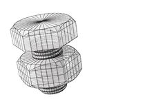 Illustrazione del bullone 3d di Wireframe su bianco Fotografia Stock