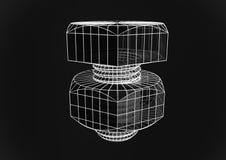 Illustrazione del bullone 3d di Wireframe su fondo nero Immagini Stock Libere da Diritti