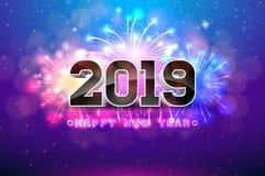 Illustrazione 2019 del buon anno con i fuochi d'artificio e numero 3d su fondo blu Progettazione di festa di vettore per l'aletta royalty illustrazione gratis
