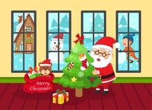 Illustrazione del buon anno e del Buon Natale del Babbo Natale V Immagini Stock Libere da Diritti