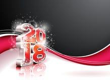 Illustrazione 2018 del buon anno su fondo nero con il numero 3d Progettazione di festa di vettore per la cartolina d'auguri premi Fotografie Stock
