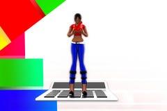 illustrazione del calcolatore delle donne 3d Fotografia Stock Libera da Diritti