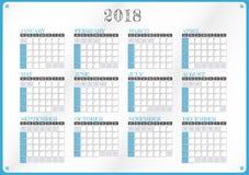 Illustrazione del calendario per l'anno 2018 Fotografia Stock Libera da Diritti