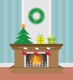 Illustrazione del camino di Natale Fotografia Stock
