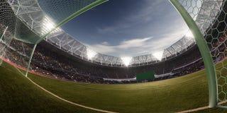 Illustrazione del campo di calcio 3D dell'arena dello stadio di sera Fotografie Stock