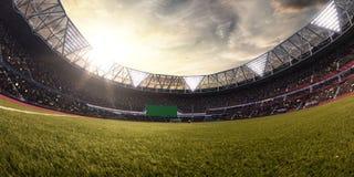Illustrazione del campo di calcio 3D dell'arena dello stadio di sera Fotografia Stock