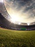 Illustrazione del campo di calcio 3D dell'arena dello stadio di sera Fotografia Stock Libera da Diritti