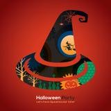 Illustrazione del cappello della strega del partito di Halloween per la carta/manifesto Fotografia Stock