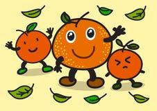 Illustrazione del carattere allegro dell'arancia del fumetto Fotografia Stock