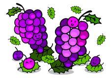 Illustrazione del carattere allegro dell'uva del fumetto Immagini Stock Libere da Diritti
